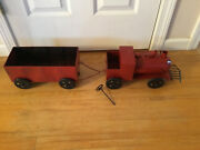 Vintage Antique 12 Pressed Steel/tin Toy Friction Steam Locomotive And Cargo Car