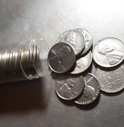 1943 Almost Uncirculated Steel Penny Roll - 50 Steel Pennies - Shiny Coins