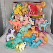 Vintage 80s My Little Pony Lot 19 Ponies And 2 1983 Cases Hong Kong 15 G1 4 G3