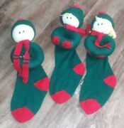 Vintage Christmas Stockings Green Lot Of 3 1988 Green Red