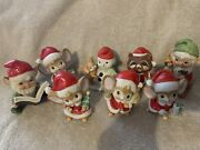 Vintage Homco Christmas Figurine Lot Of 8 - Knome Elves, Mice, Racoon