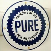 Pure Gas Oil Gasoline Round Sign .. Free Shipping On Any 8 Signs