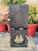 Antique Wooden South India Hand Carved Fine Floral Carving Holy Book Stand Rehal