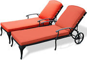 Set Of 2 Chaise Lounge Outdoor Reclining Chairs And Red Cushions Patio Furniture
