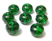 Emerald Hydro Quartz Faceted Rondelle Beads 6mm-20mm Drill 1mm-5mm 6 Pcs