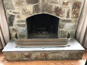 Antique Victorian Reticulated Footed Brass Fireplace Fender Guard Surround