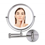 Ovente Lighted Wall Mount Makeup Mirrors 8.5 Inch 1x 10x Magnifier Circle Led