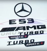 For Mercedes Emblem Star Boot Trunk E53 Coupe Amg Turbo 4matic+ Glossy Black