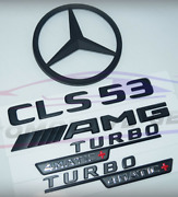 For Mercedes Emblem Star Boot Trunk Cls53 Coupe Amg Turbo 4matic+ Matte Black