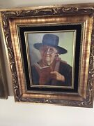 Rare Hans Gruber German,born 1918 Oil On Canvas Old Lady With Book And Hat