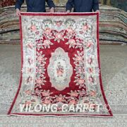 Yilong 4and039x6and039 Handknotted Silk Carpet Red Flower Home Interior Area Rugs Mc451b