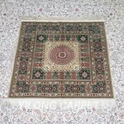 Yilong 3and039x3and039 500 Lines Square Handwoven Silk Rug Valuable Indoor Carpet Mc477h