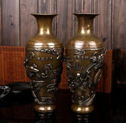 Victorian Antiques Bronze Carved Beautiful Lucky Dragon Phoenix Vase Pair Statue