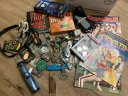 2 Junk Drawer Mix Antiques Stamps Baseball New Old Stock Knifes Watch Star War