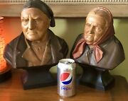 Vintage Swiss Hans Huggler Wyss Large Hand Carved Wood Bust Old Man And Woman Pair