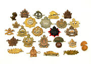Vintage Canadian Wwi Wwii Lot Of 25 Badges Pins Army Military Infantry Regiment