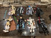 Lego Star Wars Buildable Figures Lot Of 8 W/ Manuals + Two Storage Cases