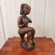 Vintage African Tribal Wooden Carved Statue A Woman Sitting Carrying Her Child