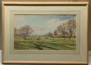 Original Vintage Hg Gandy 'on The Green' Purbeck Golf Course Painting -listed Uk
