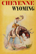 Cheyenne Wyoming Rodeo Cowgirl Riding Bucking Bull Vintage Poster Repro Free S/h