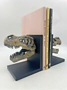 Dinosaur Fossil Skeleton Head Bookends Book Stand Book Holder Tan And Black