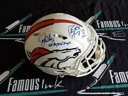 Peyton Manning And John Elway Signed And Ins Bronco Matte White Auth Helmet Fanatics