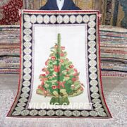 Yilong 4and039x6and039 Handmade Silk Rugs Christmas Tree Home Decor Tapestry Carpet Mc523a