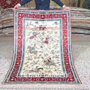Yilong 4and039x6and039 Handmade Silk Rug Hunting Animal Tapestry Pictorial Carpet Mc539a