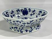 Chinese Antique Late Ming Dynasty Blue And White Footed Bowl Dish