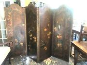 Large Antique Italian 4 Panel Leather Hand Oil Painting Flowers Birds Circa 1870