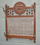 Antique Carved Oak Wall Coat Rack With Beveled Mirror Figural Mans Face