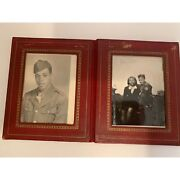 Vintage Photo In Red Leather Photo Holder Black Americana 3 X 5