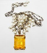 Vtg Orange Cut Glass Gem Pendant Necklace With Faux Pearls Sterling Silver 925