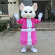 White Beauty Mouse Mascot Costume Suits Cosplay Party Dress Outfits Clothing Ad