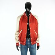Celine 2450 Perhaps Teddy Jacket In Red And Off White Satin