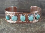 Native American Jewelry Copper Turquoise Bracelet By Bobby Cleveland