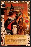 Witch Charm Test Lovers Heart Black Cat White Owl Vintage Poster Repro Free S/h