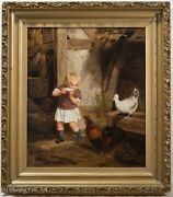 Stunning Antique 19th Century Oil Painting On Canvas Child With Chickens Fine