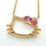 Hello Kitty Natural Ruby And Diamond 18k Gold Necklace 20002346