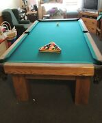 8and039 Solid Oak 1 Pc Slate Pool Table And Cue Stand