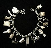 Vintage 1940s Sterling Silver Outhouse Book Locket Thimble Charm Bracelet