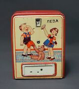 1930 Antique German Lithography Tin Toy Mechanical Steel Bank Coin Counter Lock