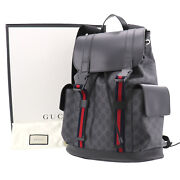 Gg Plus Web Stripe Backpack Black Pvc Leather Italy Authentic Yy58 O