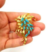 See Video Vintage Turquoise Brooch / Pin In 18k Yellow Gold 25g Size 2.5 X1.5