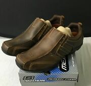Skechers Mens Diameter Comfort Brown Leather Loafer Shoes 61779ew 8 Extra Wide