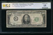 Ac 1934a 500 Five Hundred Dollar Bill Dallas Pcgs 15 Comment
