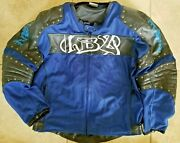 Lbz Vintage Heavy Motorcycle Jacket Leather/polyester Armor W/liner. Size Large.