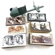 Vintage Stereoscope Viewer And 144 Stereoviews Slides Cards Lot Victorian Travel
