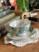 Norcrest Tea Cup And Saucer Lusterware Green Mint And White C-131