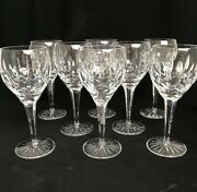 8 Waterford Ireland Cut Glass Crystal Ballymore 7-1/2 Water Wine Goblets Signed